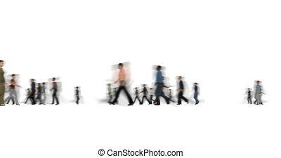 foule, gens, lentement, barbouillage, blanc, mouvements