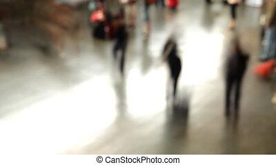 foule, gens, rome's, jeûne, temini, train, en mouvement, station