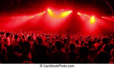 foule, grand, derrière, stade, délirer, fête, vue