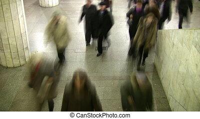 foule., marche, lapse., temps, subway., brouiller mouvement