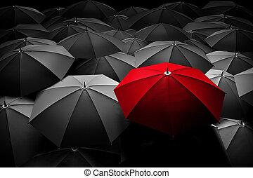foule., parapluie, différent, stand, leader., rouges, dehors