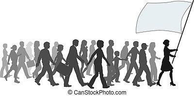 foule, promenade, drapeau, tenue, suivre, éditorial, ===people