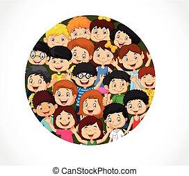 foule, s, vide, enfants, dessin animé