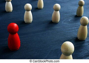 foule., segmentation, concept., dirigeant marché