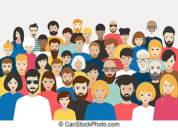 foule, vector., différent, grand, gens., groupe
