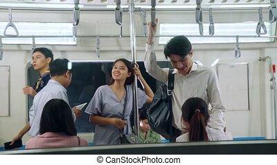 foule, voyage, train, public, bondé, gens, métro, occupé