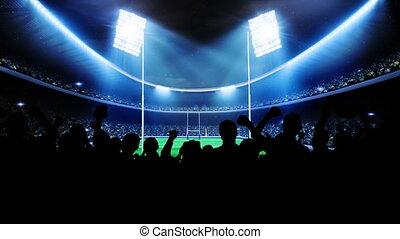 foules, stadium., gens