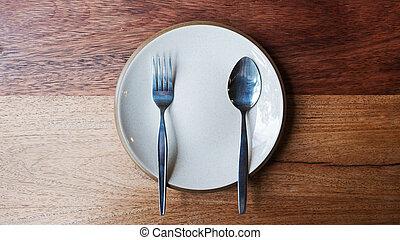 fourchette, bois, vide, plaquer cuillère, arrière-plan.