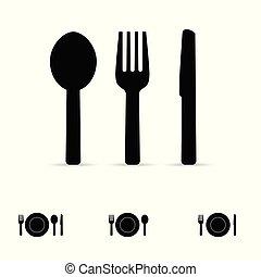fourchette, couteau, illustration, icône