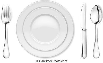fourchette, cuillère, couteau, assiette creuse
