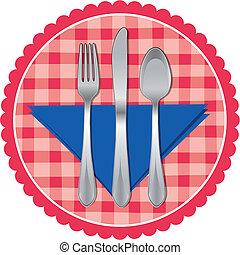 fourchette, &, cuillère, tissu, couteau tableau
