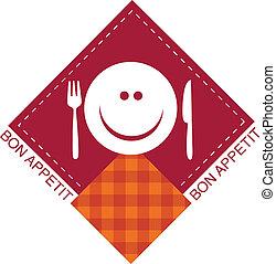 fourchette, heureux, smiley, couteau, figure