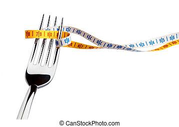 fourchette, mètre ruban