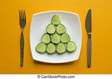 fourchette, plaque, couteau, concombre coupé tranches