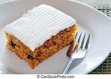 fourchette, plaque, gâteau carotte