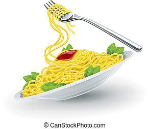 fourchette, plaque, pâtes, italien
