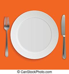 fourchette, plaque, réaliste, couteau dîner, vide