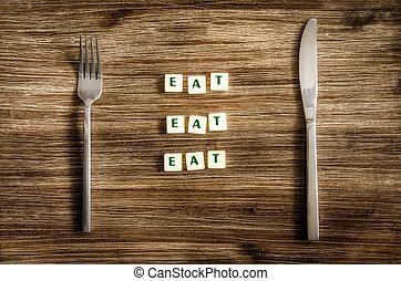 fourchette, proverbe, ensemble, bois, signe, couteau, manger, table