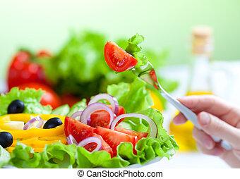 fourchette, salade, nourriture saine, légume, frais