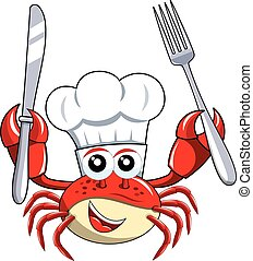 fourchette, tenue, isolé, chef cuistot, crabe, couteau, mascotte