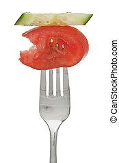 fourchette, tomate, couper, concombre