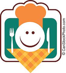 fourchette, visage smiley, chef cuistot, couteau, heureux
