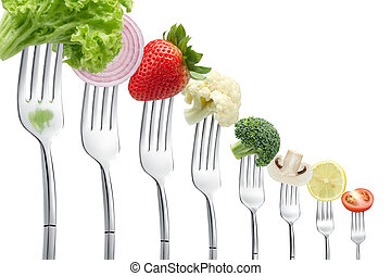 fourchettes, légumes