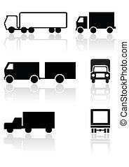 fourgon, symbole, vecteur, camion, ou, set.