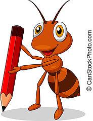 fourmi, mignon, dessin animé, crayon rouge