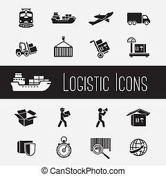 fourniture, ensemble, chaîne, icônes