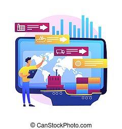 fourniture, vecteur, chaîne, illustration., concept, résumé, analytics