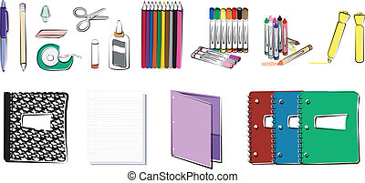 fournitures, école, bureau