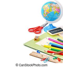 fournitures, école, coloré