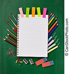 fournitures, école, education, articles