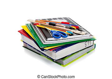 fournitures, école, portables, sommet, spirale