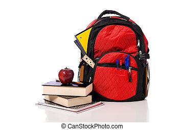 fournitures, école, sac à dos, débordement