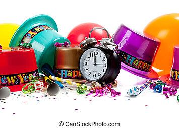 fournitures, année, heureux, célébration, nouveau, blanc