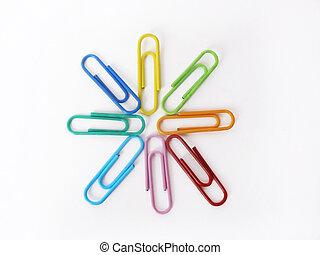 fournitures bureau, clips, fond, isolé, blanc, couleur