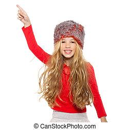 fourrure, chemise, danse, girl, gosse, chapeau, rouges, hiver