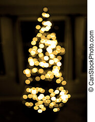 foyer, arbre noël, fond, dehors, lumières