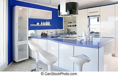 foyer bleu, moderne, conception, intérieur, blanc, cuisine