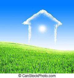 foyer bleu, nuages, ciel