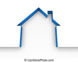 foyer bleu, propriété, 3d