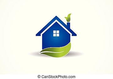 foyer bleu, vecteur, feuille, logo