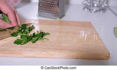 foyer, couteau, persil, tranches, bois, board., cuisine, sélectif