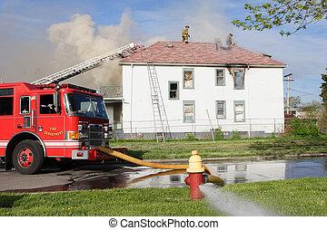 foyer tir, pompiers, combat