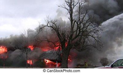 foyer tir, pompiers, smokey
