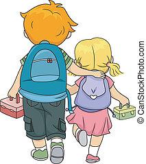 frères soeurs, marche, maison