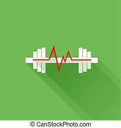 fréquence cardiaque, sports, plat, icône