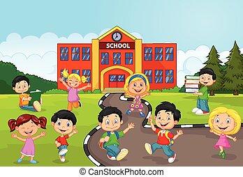fr, heureux, enfants, dessin animé, école